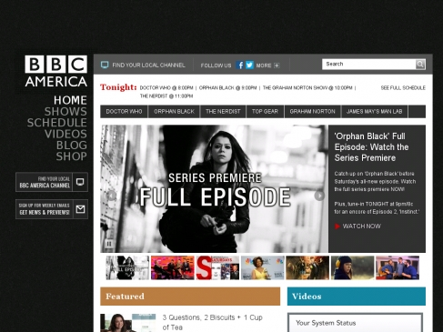 BBC America's WordPress-based website.